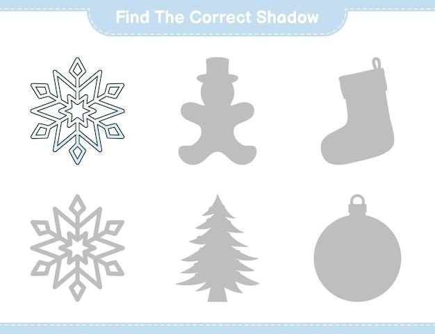Trova l'ombra corretta trova e abbina l'ombra corretta del gioco per bambini snowflake educational