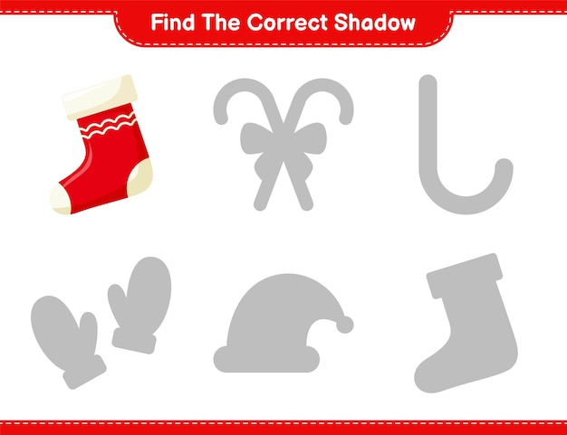 Trova l'ombra corretta. trova e abbina l'ombra corretta di socks. gioco educativo per bambini
