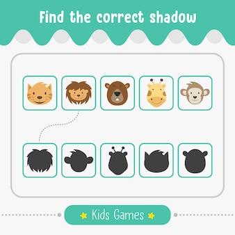 Trova il gioco per bambini ombra corretto per l'attività educativa