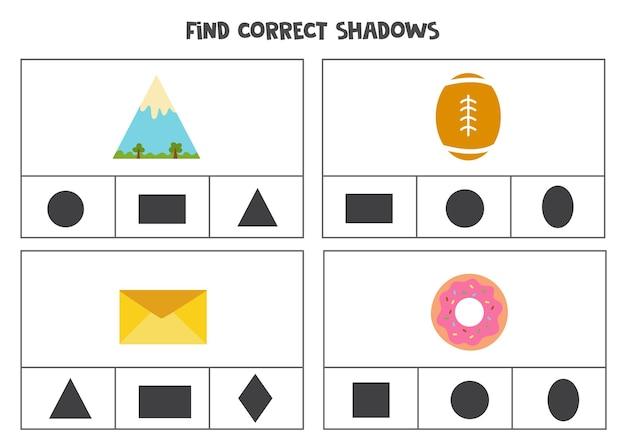 Trova l'ombra corretta degli oggetti. giochi di carte con clip stampabili per bambini. Vettore Premium