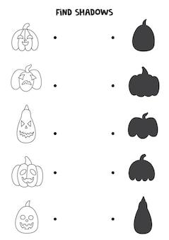 Trova le ombre corrette delle zucche di halloween in bianco e nero. puzzle logico per bambini.