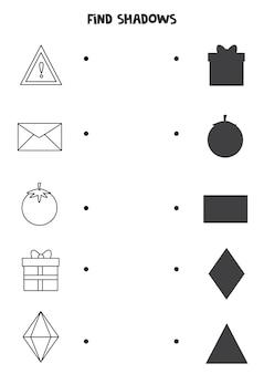 Trova le ombre corrette delle forme in bianco e nero. puzzle logico per bambini.