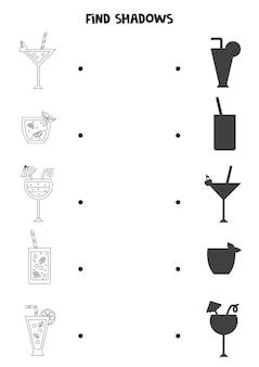Trova le ombre corrette dei cocktail estivi in bianco e nero. puzzle logico per bambini.