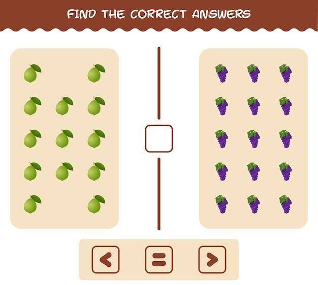 Trova le ombre corrette dei frutti dei cartoni animati. gioco di ricerca e abbinamento. gioco educativo per bambini e ragazzi Vettore Premium