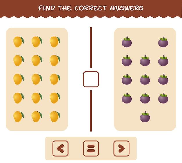 Trova le ombre corrette dei frutti dei cartoni animati. gioco di ricerca e abbinamento. gioco educativo per bambini e ragazzi