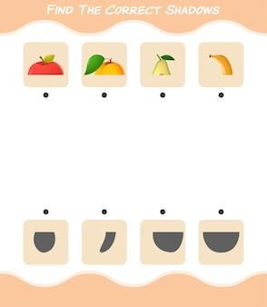 Trova le ombre corrette dei frutti dei cartoni animati. ricerca e gioco di abbinamento. gioco educativo per bambini e ragazzi in età prescolare