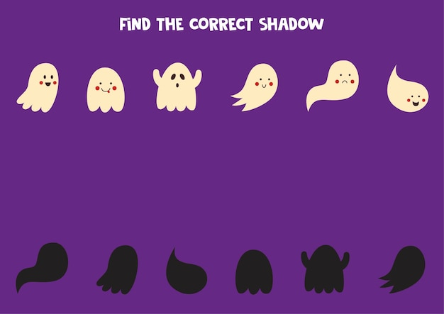 Trova le ombre corrette di simpatici fantasmi. puzzle logico per bambini.