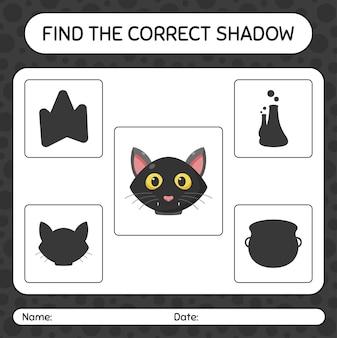 Trova il gioco di ombre corretto con il gatto nero. foglio di lavoro per bambini in età prescolare, foglio di attività per bambini
