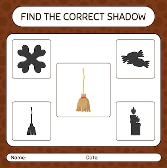 Trova il gioco di ombre corretto con la scopa. foglio di lavoro per bambini in età prescolare, foglio di attività per bambini