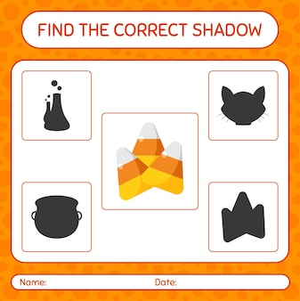 Trova il gioco di ombre corretto con caramelle di mais. foglio di lavoro per bambini in età prescolare, foglio di attività per bambini
