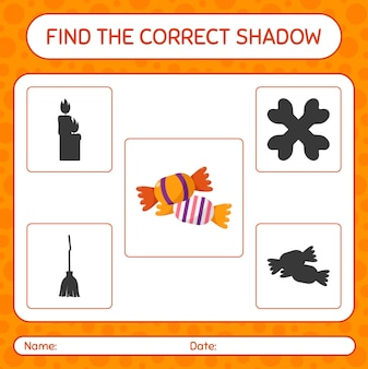 Trova il gioco di ombre corretto con le caramelle. foglio di lavoro per bambini in età prescolare, foglio di attività per bambini