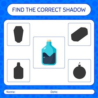 Trova il gioco di ombre corretto con il tubo di chimica. foglio di lavoro per bambini in età prescolare, foglio di attività per bambini