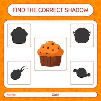 Trova il gioco di ombre corretto con cupcake. foglio di lavoro per bambini in età prescolare, foglio di attività per bambini
