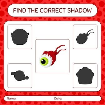 Trova il gioco di ombre corretto con il bulbo oculare. foglio di lavoro per bambini in età prescolare, foglio di attività per bambini
