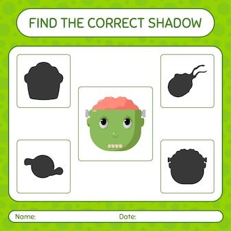 Trova il gioco di ombre corretto con frankenstein. foglio di lavoro per bambini in età prescolare, foglio di attività per bambini