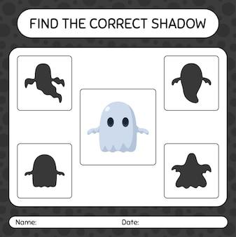 Trova il gioco di ombre corretto con il fantasma. foglio di lavoro per bambini in età prescolare, foglio di attività per bambini