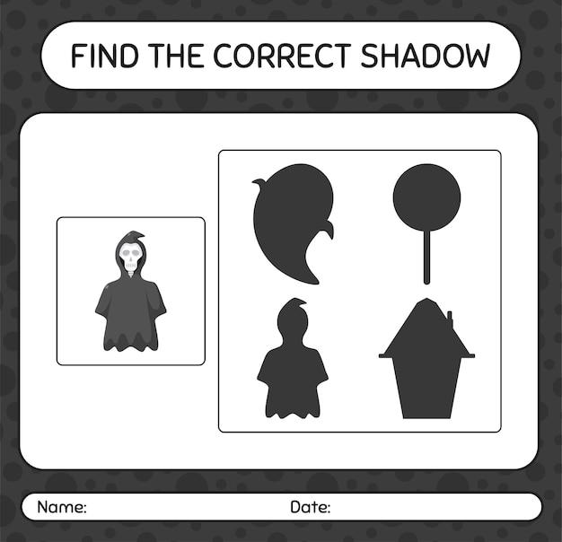 Trova il gioco di ombre corretto con grim reaper. foglio di lavoro per bambini in età prescolare, foglio di attività per bambini