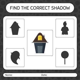 Trova il gioco di ombre corretto con la casa. foglio di lavoro per bambini in età prescolare, foglio di attività per bambini