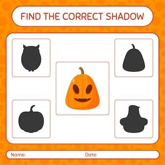 Trova il gioco di ombre corretto con jack o' lantern. foglio di lavoro per bambini in età prescolare, foglio di attività per bambini