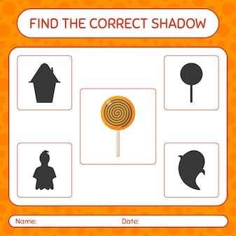 Trova il gioco di ombre corretto con lecca-lecca. foglio di lavoro per bambini in età prescolare, foglio di attività per bambini