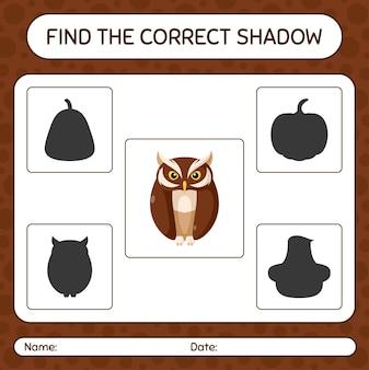 Trova il gioco di ombre corretto con il gufo. foglio di lavoro per bambini in età prescolare, foglio di attività per bambini