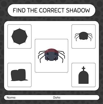 Trova il gioco di ombre corretto con il ragno. foglio di lavoro per bambini in età prescolare, foglio di attività per bambini