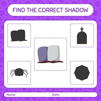 Trova il gioco di ombre corretto con la lapide. foglio di lavoro per bambini in età prescolare, foglio di attività per bambini