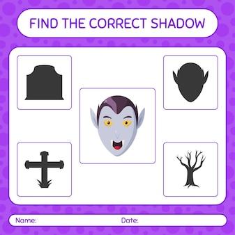 Trova il gioco di ombre corretto con il vampiro. foglio di lavoro per bambini in età prescolare, foglio di attività per bambini