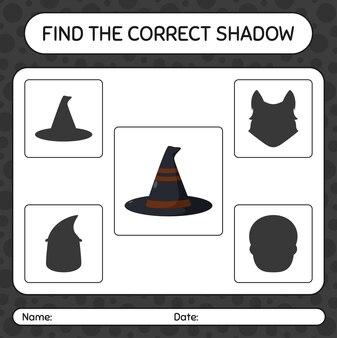 Trova il gioco di ombre corretto con il cappello da strega. foglio di lavoro per bambini in età prescolare, foglio di attività per bambini