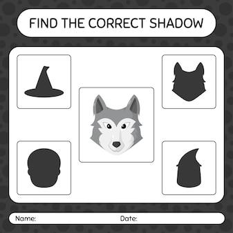 Trova il gioco di ombre corretto con il lupo. foglio di lavoro per bambini in età prescolare, foglio di attività per bambini