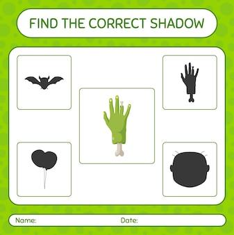 Trova il gioco di ombre corretto con la mano di zombi. foglio di lavoro per bambini in età prescolare, foglio di attività per bambini