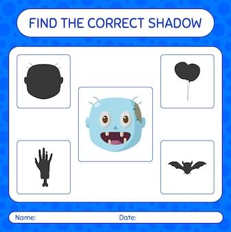 Trova il gioco di ombre corretto con zombie. foglio di lavoro per bambini in età prescolare, foglio di attività per bambini