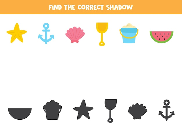 Trova le ombre corrette degli articoli estivi. puzzle logico per bambini.