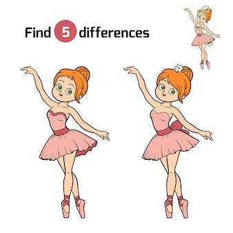 Trova le differenze, gioco educativo per bambini, ballerina