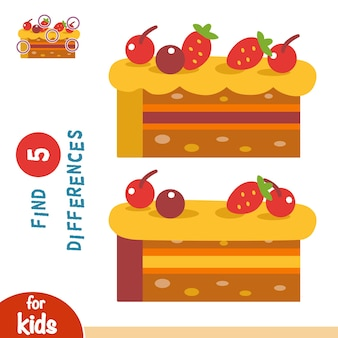 Trova le differenze, gioco educativo per bambini, torta con frutta