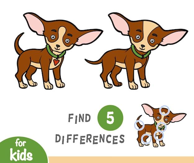 Trova le differenze gioco educativo per bambini, chihuahua