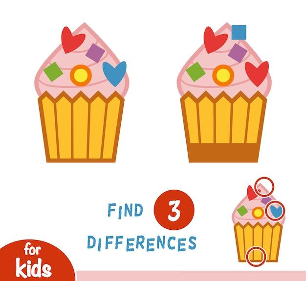Trova le differenze gioco educativo per bambini, cupcake
