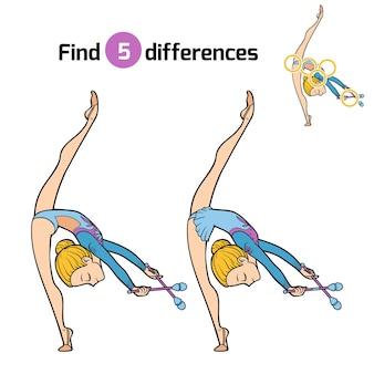 Trova differenze, gioco educativo per bambini, la ginnasta e club di giocoleria
