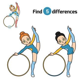 Trova le differenze, gioco educativo per bambini, la ginnasta con il cerchio