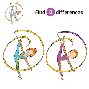 Trova le differenze, gioco educativo per bambini, la ginnasta con un nastro