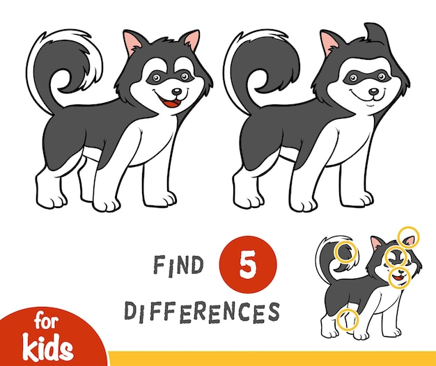 Trova le differenze gioco educativo per bambini, husky