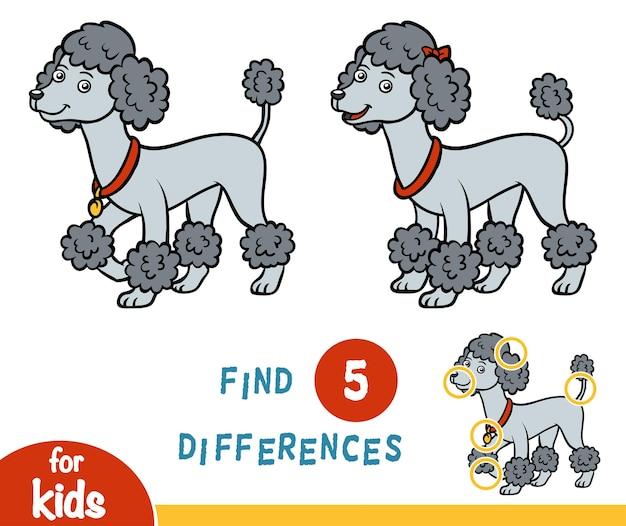 Trova le differenze gioco educativo per bambini, barboncino