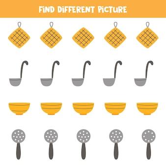 Trova utensili da cucina diversi in ogni riga. gioco logico per bambini in età prescolare.