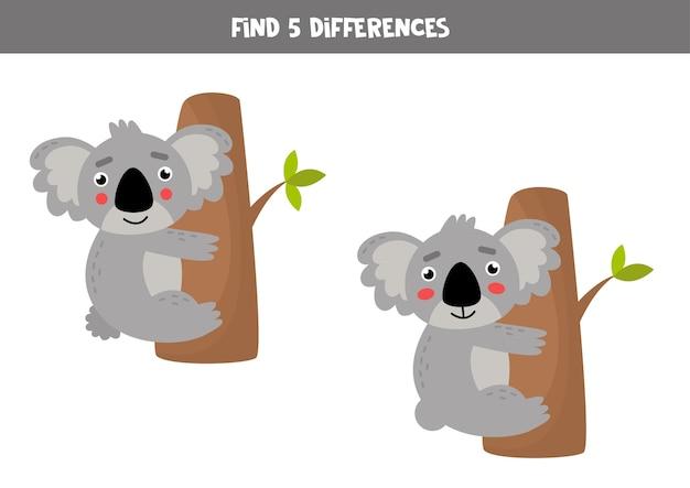 Trova cinque differenze tra le immagini di graziosi koala sull'albero. gioco logico educativo per bambini. foglio di lavoro di attenzione per bambini in età prescolare.