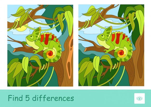 Trova cinque differenze quiz che imparano il gioco dei bambini con l'immagine di un camaleonte seduto sull'albero nella foresta pluviale. immagine colorata di animali. attività di sviluppo per i bambini.