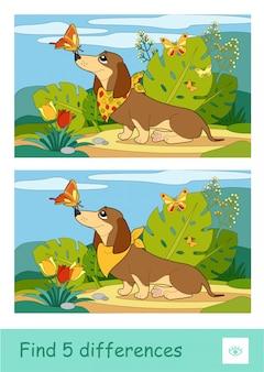 Trova cinque differenze quiz che imparano il gioco dei bambini con l'immagine di un cane che gioca con le farfalle su un prato. immagine colorata di animali domestici. attività di sviluppo per i bambini.