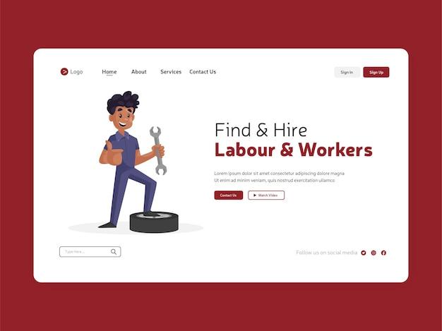 Trova e assumi manodopera e pagina di destinazione dei lavoratori