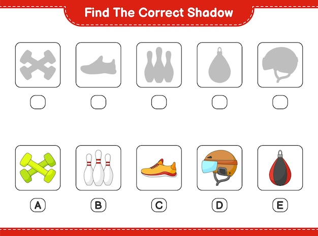 Trova e abbina l'ombra corretta di hockey helmet shoes bowling pin dumbbell e punching bag