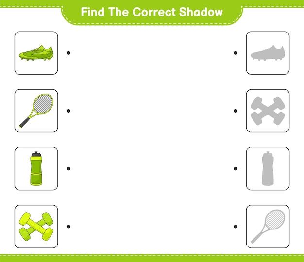 Trova e abbina l'ombra corretta di scarpe da calcio e manubri con racchetta da tennis in bottiglia d'acqua