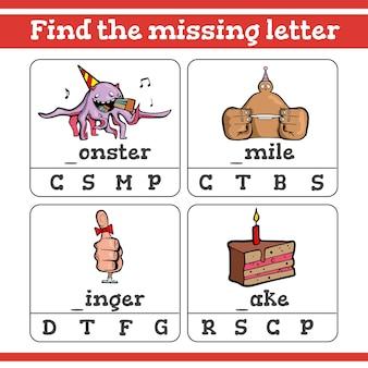 Trova il gioco della lettera mancante per bambini in età prescolare
